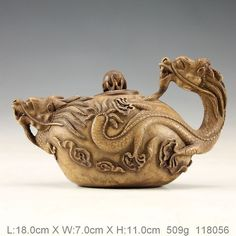 Oriental Vintage Handworkd Carved Pottery Dragon  Teapot S118056