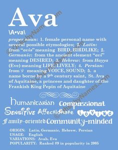 AVA Personalized Name Print / Typography Print / Detailed Name Definitions / Numerology-calculated Destiny Traits / Educational