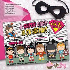 c0ef0fe1d4d Superhero Girl Baby Shower invitations Super hero DIY printable invite  super heroes Baby Shower Parties