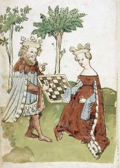 King and queen playing chess [Whole folio] King and queen playing chess. An illustration from 'Das Schachzabelbuch'; a paraphrase in German verse by von Ammenhusen from the Latin of Cessolis Date	15th century.  Chess playing was a popular pastime in the medieval period.
