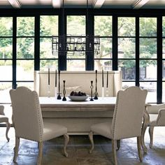 Bernhardt Campania Rectangular Dining Set in Weathered Sand Set Includes: 1 Rectangular Dining Table, 4 Upholstered Side Chair, 2 Upho Wood Table Bases, Solid Wood Table Tops, Upholstered Dining Chairs, Dining Room Furniture, Dining Rooms, Room Chairs, Furniture Stores, Dining Room Banquette, Furniture Board