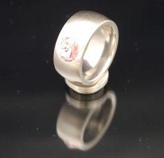 11mm Edelstahlring silber mit Swarovski Elements Fb. Light Rose-$30.03-(ring-rings)