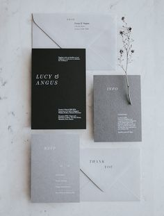 These modern monochromatic invitations for Lucy and Angus are a beautiful and subtle invitation that reflects how they want their wedding day to feel. Grey Wedding Invitations, Gray Weddings, Rsvp, Reflection, Black And Grey, Wedding Day, Wedding Photography, Feelings, Modern