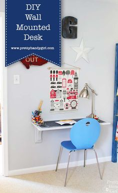 DIY Wall Mounted Desk | How to Secure a Desk to the Wall | Pretty Handy Girl #prettyhandygirl #DIYDesk #WallMountedDesk #DIYofficeideas #officeinspo