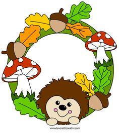 Ghirlanda con riccio, foglie e ghiande da realizzare con i cartoncini colorati o…