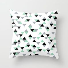 Triangles Mint Grey Throw Pillow by Emeline - Cover x with pillow insert - Indoor Pillow White Throw Pillows, Black Pillows, Fluffy Pillows, Pink Pillows, Throw Cushions, Couch Pillows, Designer Throw Pillows, Down Pillows, Accent Pillows