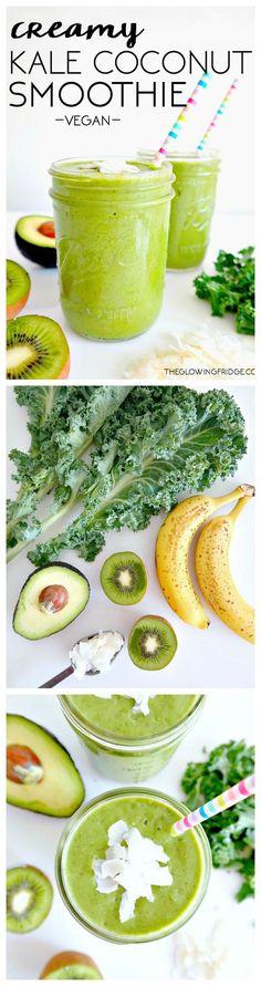 Creamy Kale Coconut Smoothie. http://www.theglowingfridge.com/creamy-kale-coconut-smoothie/ #Vegan