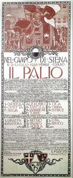 Palio di Siena - MANIFESTO DEL PALIO DEL 1928