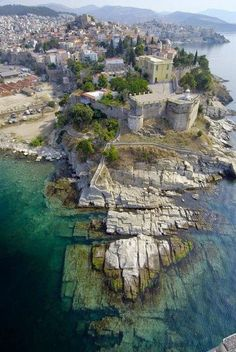 Kavala, Greece. saw movie Mamma Mia last night, awesome landscape, pretty sure it was filmed somewhere in Greece...