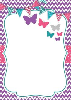 Party Birthday Card Template, Birthday Cards, Page Frames, Collage Frames, Boarders And Frames, Personalized Cookies, Flower Background Wallpaper, Invitation Background, Butterfly Party