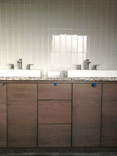 A Bathroom Sneak Peek + Q & A time  ... i like the vertical subway-ish tile
