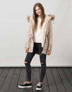 Bershka United Kingdom - BSK lined parka with detachable fur