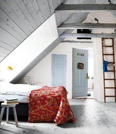 i love gray attics with lofts and ladders
