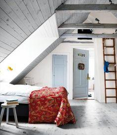 i love gray attics with lofts and ladders