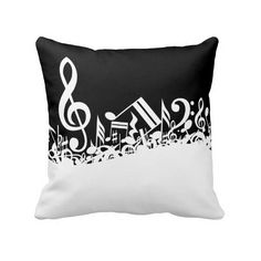 White Jumbled Musical Notes on Black Throw Pillow (46 CAD) ❤ liked on Polyvore featuring home, home decor, throw pillows, black toss pillows, white home accessories, black home decor, black white accent pillows and music sheet