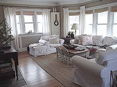 Rustic Farmhouse: totally using this idea in the living room! I love how it flows and doesnt break up the room with a bunch of curtains! Living Room Designs, Living Spaces, Living Rooms, Living Area, Living Room Windows, Curtains Living, Home And Living, Cottage Living, Cozy Cottage
