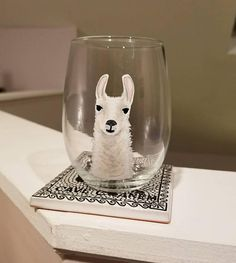 Save the drama for the llama, and pour yourself a glass. **WILL PERSONALIZE WITH A NAME or INITIALS FOR FREE** (on base of the glass) just include name with checkout. *CARE OF GLASSWARE- All glass paint is on the outside of the glasses and DISHWASHER SAFE. Although glasses are