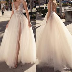 V Neck Beach Wedding Dresses Beaded High Split Backless A Line Tulle Sexy Boho