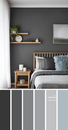 Relaxing Bedroom Colors, Small Bedroom Colours, Bedroom Color Schemes, Apartment Color Schemes, Colour Combination For Bedroom, Best Colour For Bedroom, Grey Color Schemes, Bedroom Wall Colour Ideas, Room Colour Ideas