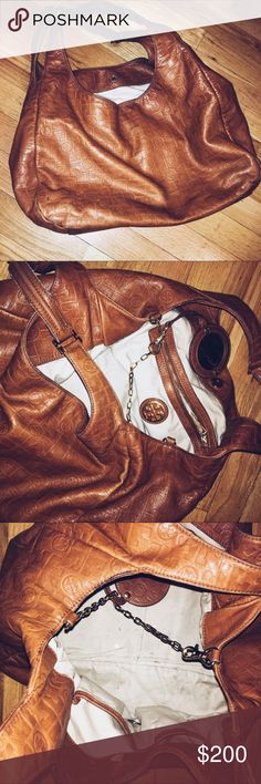 Tory Burch purse Brown Tory Burch bag with a little mirror inside and Tory Burch logo pattern print Tory Burch Bags Shoulder Bags