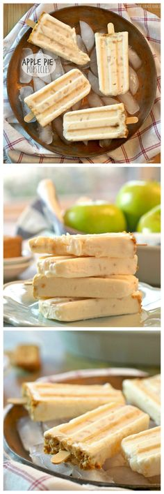 Apple Pie Popsicles, a blend of two of my favorite desserts! Easy, fun, and delicious! These yogurt based popsicles are healthy AND delicious, the perfect combination! Cold Desserts, Ice Cream Desserts, Frozen Desserts, Ice Cream Recipes, Frozen Treats, Delicious Desserts, Dessert Recipes, Yummy Food, Parfait