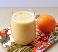 Dreamsicle Smoothie 1 large orange, peeled and segmented OR the juice from 2 oranges 1 banana, cut into chunks (fresh or frozen) 1/2 cup almond milk 1/2 tsp. vanilla extract 1 tsp. lucuma powder (optional) 1 tsp. maca powder (optional) Blend until smooth. Enjoy!