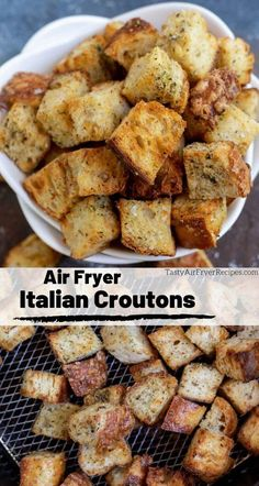 The best croutons are air fried! These Air Fryer Homemade Croutons are crisp, f. - The best croutons are air fried! These Air Fryer Homemade Croutons are crisp, flavorful and as wit - Air Fryer Recipes Snacks, Air Fryer Recipes Vegetarian, Air Fryer Recipes Breakfast, Air Frier Recipes, Air Fryer Dinner Recipes, Cooking Recipes, Cooking Tips, Easy Recipes, Popular Recipes
