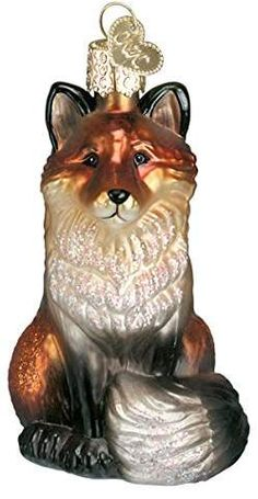 """Red /& White Metal Fox with Christmas Wreath /& Gingham Bow 11/"""" Tall Modern NEW"""