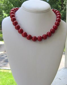 Red Chunky Necklace Statement, So Fine on Etsy, $26.00