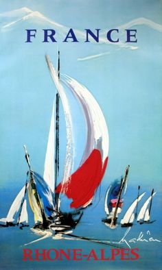 Rhone Alpes boats, 1970s - original vintage poster by Mathieu listed on AntikBar.co.uk