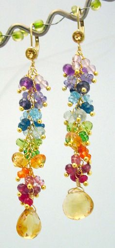 14K Gold gf rainbow gemstone citrine briolette  long chandelier earrings on Etsy, $139.95