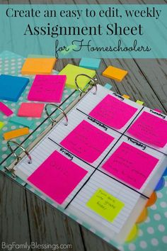 Create an easy to edit weekly assignment sheet for Homeschoolers. What a great idea to place the week's assignments separately for each subject ON the divider for the subject using Post-it® Notes!- Big Family Blessings