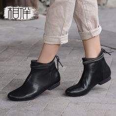 92.80$ Buy now - ali3cl.worldwells... - Handmade vintage leather women flat boots black ankle boots female Chelsea boots fashion women shoes for spring autumn 92.80$