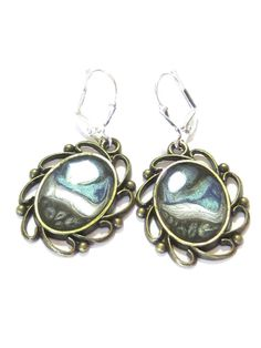 Hand Painted Blue Black Silver Abstract Earrings by JKCJewelry