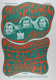 """psychedelic-sixties: """" Young Rascals and Quicksilver Messenger Service, August 19 & 1966 - Fillmore Auditorium (San Francisco, CA.) Art by Wes Wilson """" Psychedelic Typography, Psychedelic Music, Psychedelic Posters, Tour Posters, Band Posters, Music Posters, Event Posters, Vintage Concert Posters, Vintage Posters"""