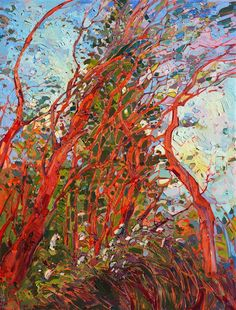 Pacific Madronas, painted in thickly impasto oil paints, by modern impressionist Erin Hanson