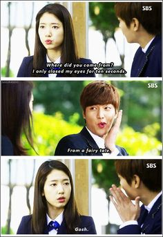 "Lee Min Ho and Park Shin Hye ♡ #Kdrama - ""HEIRS"" / ""THE INHERITORS"" . hahhaa.. yeah we know it:"