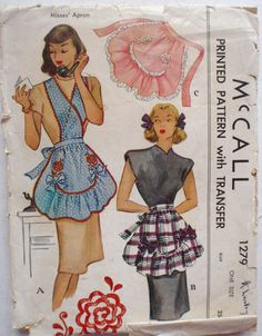 Vintage 40's Ruffled Bib Apron or Half Apron by Shelleyville