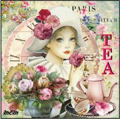 ☮ Coffee or Tea? Vintage art and quotes ☮ Decoupage Vintage, Decoupage Paper, Vintage Diy, Vintage Paper, Vintage Pictures, Vintage Images, Tee Kunst, Tea Quotes, Tea Art