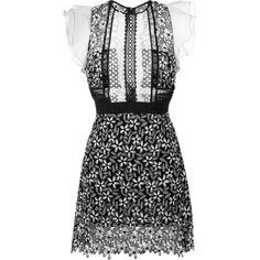Self-Portrait Frill Sleeve Daisy Guipure Dress ($338) ❤ liked on Polyvore featuring dresses, black, flutter sleeve dress, daisy-print dress, daisy dress and ruffle sleeve dress