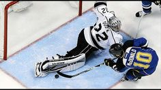 Who remembers this one? Quick absolutely robs McDonald during the 2012 playoffs. Jonathan Quick, Kings Hockey, Los Angeles Kings, Golf Bags, Nhl, Stones, Sporty, Game 1