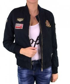 Huxley and Grace μπλε bomber jacket με διακοσμητικά patch D187B Bomber  Jacket 7fdf97efa20