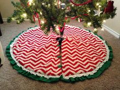 Christmas Tree Skirt I couldn't find anything in the stores that I liked so for about $30 I made this one!