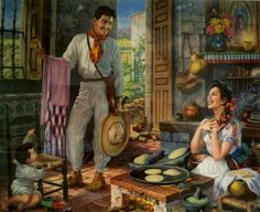 Jesus Helguera wow can ANYONE REALLY be this happy making tortillas? Mexican Artwork, Mexican Paintings, Mexican Folk Art, Art Paintings, Arte Latina, Hispanic Art, Latino Art, Mexican Heritage, Mexico Art