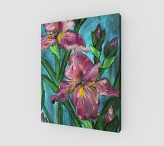 """Canvas+""""Floral+Pink+Irises+16+x+20""""+by+Karen+June+Booth"""