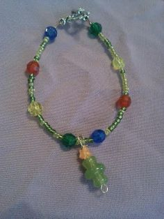 Christmas tree seed bead bracelet by CRAZYBUTTONDESIGNS13 on Etsy, $4.00