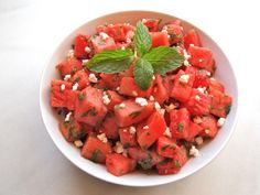 Watermelon Feta Salad with Mint Recipe Salads with watermelon, extra-virgin olive oil, lime, salt, black pepper, mint leaves, feta cheese crumbles