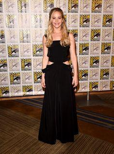 Jennifer Lawrence en un vestido Louis Vuitton.