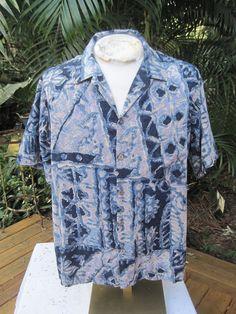 HAWAIIAN Aloha SHIRT vintage 1970s XL pit to pit 25 Hilo Hattie Batik Ctn rayn #SeeDescription #Hawaiian