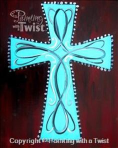 """Painting With a Twist - """"Turquoise Scroll Cross"""""""" in Round Rock at"""